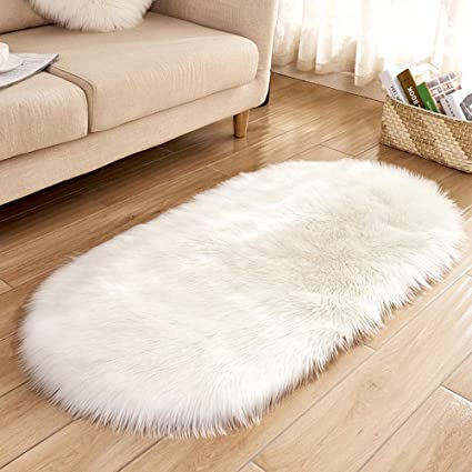 Gotian Rug Non Slip Wool Sheepskin Hallway Bedroom Rug, Soft, Fluffy Rug Runner Furry