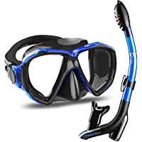 Dorlle Snorkel Set Diving Mask with Anti-Fog Tempered Glass, Anti-Leak Dry Top Snorkel Mask, Easy Breathing and…