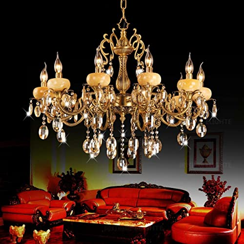 QRZE 10 Lights Modern Luxurious K9 Crystal Pendant Lights Candle Cognac Pendant Lamp Ceiling Living Room Lighting
