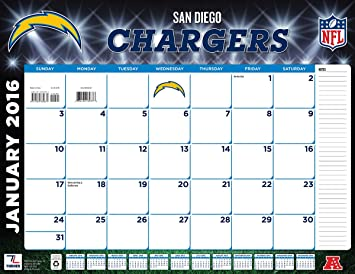 amazon com turner san diego chargers 2016 desk calendar january