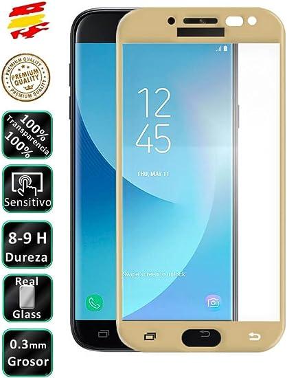 Movilrey Protector para Samsung Galaxy J5 2017 Dorado Completo 3D Cristal Templado de Pantalla Vidrio Curvo para movil: Amazon.es: Electrónica