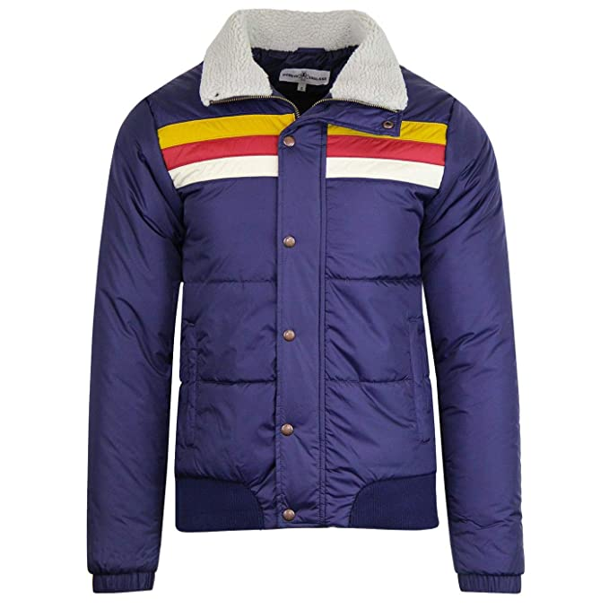 Vintage Inspired Dresses & Clothing UK Madcap England Edge Mens Retro 70s Padded Ski Jacket in Navy £79.99 AT vintagedancer.com