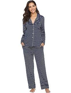 Aibrou Mujer Pijama Algodón con Botón Casual Camiseta y Pantalones Largos Clásico Ropa de Casa Dormir Suave y Comodo para Otoño e Invierno S-XXL (L, Azul): Amazon.es: Ropa y accesorios