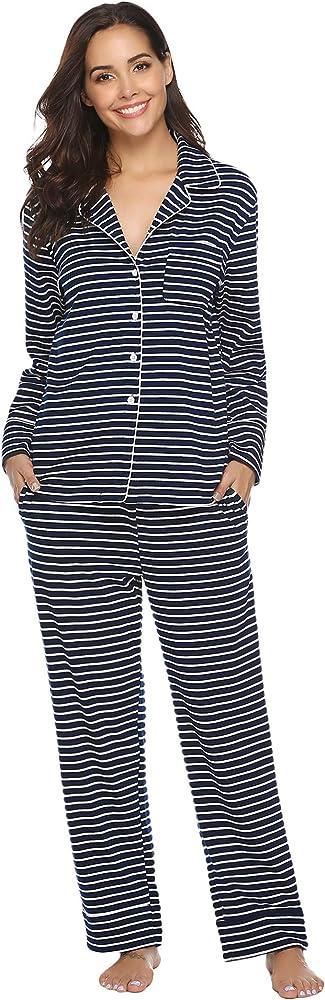 Aibrou Pijama Mujer Invierno Pijamas de Mangas Largas Algodón ...