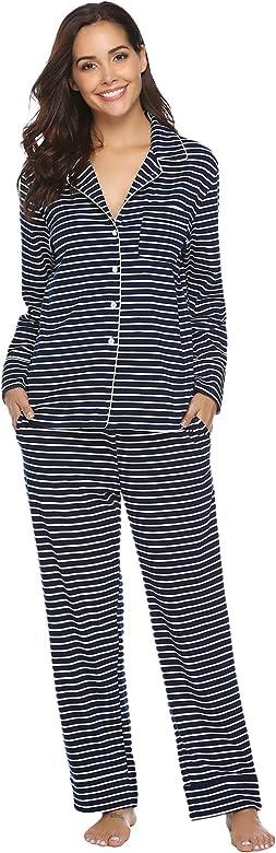 Aibrou 100% Algodón Pijamas Mujer Invierno de Mangas Largas ...