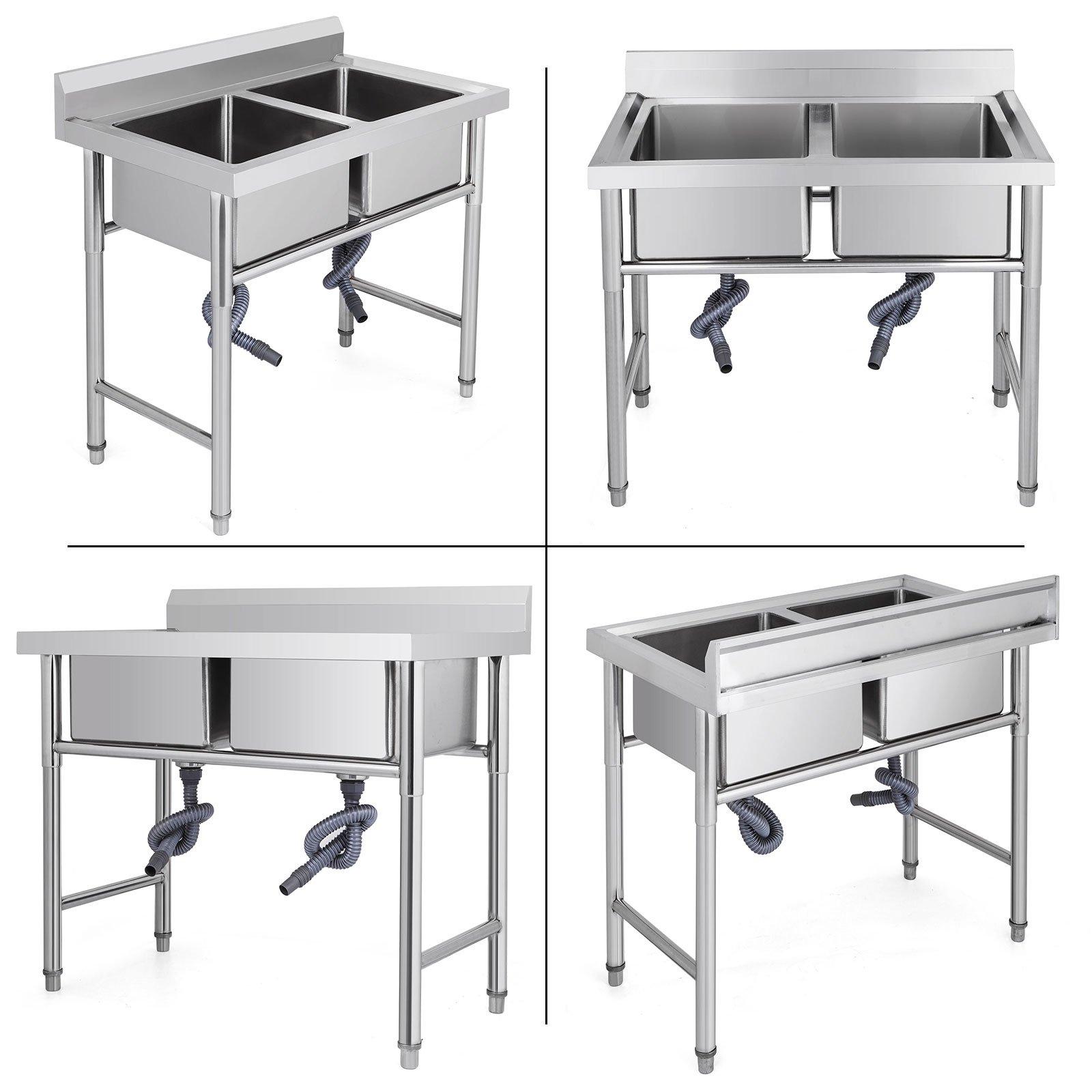 "Mophorn 2 Compartment Stainless Steel Bar Sink 15.5"" x 16.5""Bowl Size Handmade Underbar Sink for bar, kitchen restaurant by Mophorn (Image #9)"