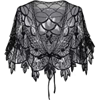 Women 1920s Shawl Wraps Sequin Beaded Art Deco Evening Cape Gatsby Theme Flapper Cover Up Wedding Evening Cape besbomig
