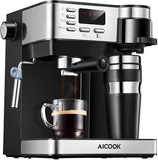 Aicook - Cafetera italiana 3 en 1 (cafetera espresso de 15 bares, cafetera americana profesional con espumador de leche), taza termo de regalo: Amazon.es: Hogar