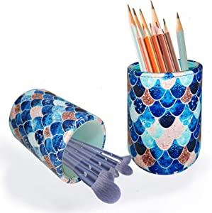 Roiroiko PU Leather Pencil Pen Holder,Round Pencil Cup Makeup Brush Holder , Desk Accessories Organizer Desktop Stationery Container Box for Women Girls Kids,Ideal Gift for for Home Office Bedroom(mermaid)