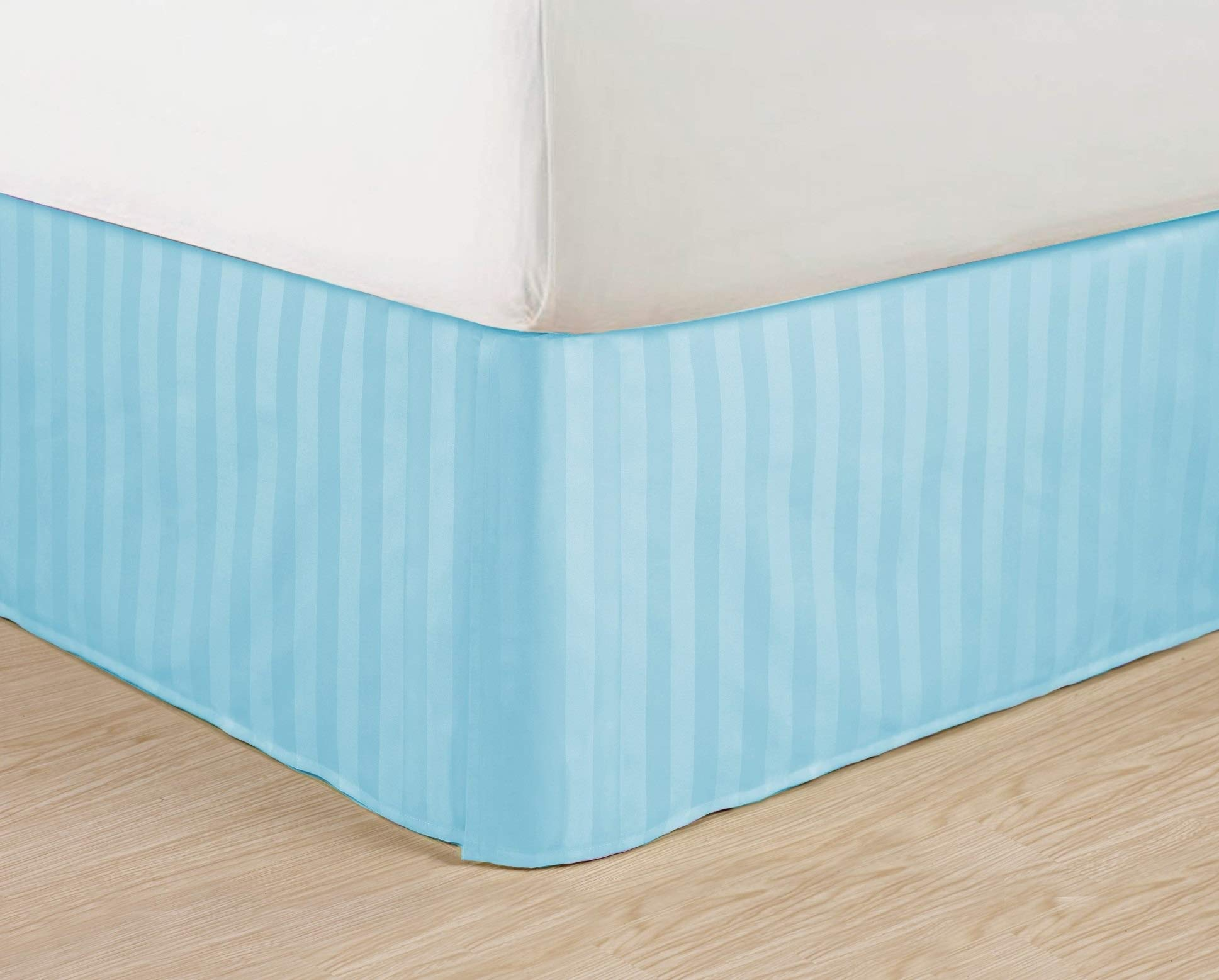 Ben & Jonah Simple Elegance 1500 Series Queen Size Embossed Stripe Bed Skirt with 14'' Drop - Spa Blue