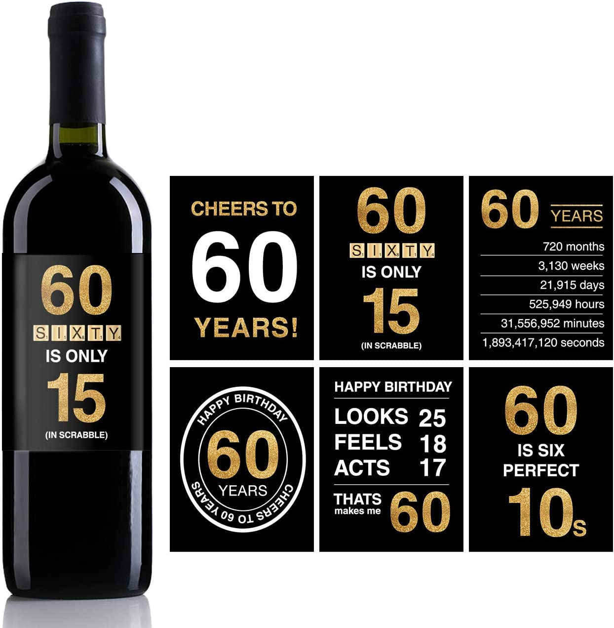 60th Birthday Wine Bottle Labels or Stickers Present,1958 Birthday Gifts For Men or Women,60th birthday decorations,Funny Sixty Black Gold Party ...