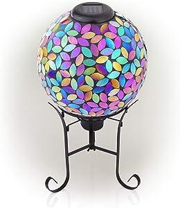 Alpine Corporation GRS122A-SLR Solar Mosaic Gazing Globe w/Metal Stand, 17 Inch Tall, Purple