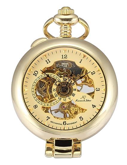 KS KSP062 - Reloj de Cuerda Manual de Bolsillo, Caja Dorada: Amazon.es: Relojes