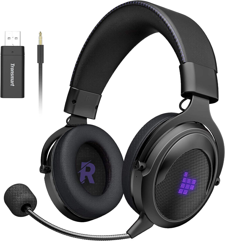 Tronsmart Shadow-2.4G Auriculares Gaming 7.1 para PS4,Xbox One,Estéreo Cascos Inalámbricos para Juegos,Micrófono con Cancelación de Ruidocon Plegable,Cascos Gaming 50MM Transmisor USB Incluido-Morado