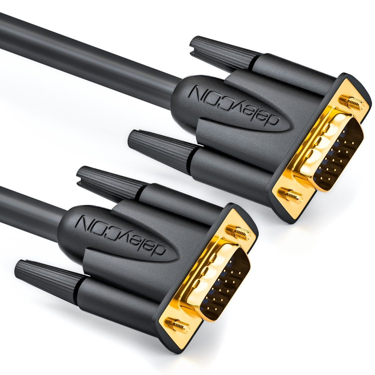 deleyCON 15m S-VGA Monitor Cable - VGA 15-Pin Cable D-Sub Connector Full HD Triple-Shielded Kink Protection Gold-Plated Contacts - Black