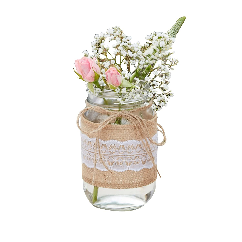 Blumen Vase Blumen Glas Mit Jute Wei Ss Er Spitze Rustikal