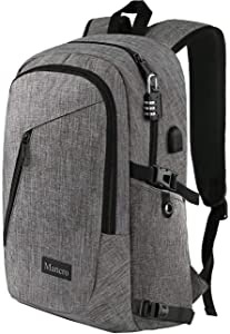 "Laptop Backpack, Business Travel Water Resistant Backpacks Gift for Men Women, Anti Theft College School Bookbag, Mancro Computer Bag with USB Charging Port Lock Fits UNDER 17"" Laptop Notebook (Grey)"