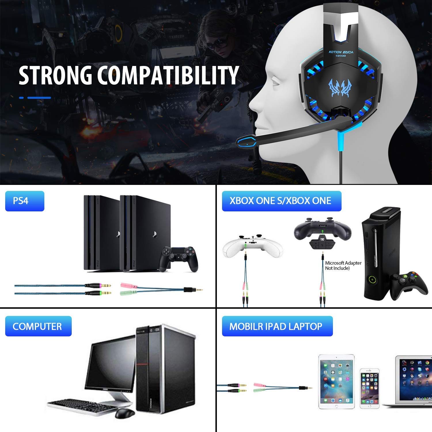 Auriculares Gaming PS4,Cascos Gaming, Auriculares Cascos Gaming con Micrófono Juego Gaming Headset con 3.5mm Jack Luz LED Compatible con PC/Xbox One/Nintendo Switch,Bass Surround y Bajo Ruido