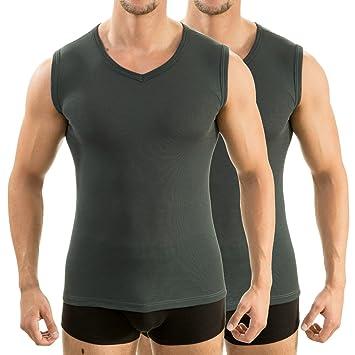 c651587767db1e HERMKO 2 x 63050 Herren Athletic Vest by Exclusiv Funktionsunterhemd  Muskelshirt mit V-Neck