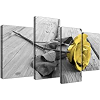 Yellow Grey Rose Flower Black White Floral Canvas - Split 4 Part - 51 Inches Wide - 4255 - Wallfillers