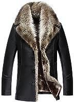 Jinmen Men's Fashionable Luxurious Raccoon Fur Collar Long Coat
