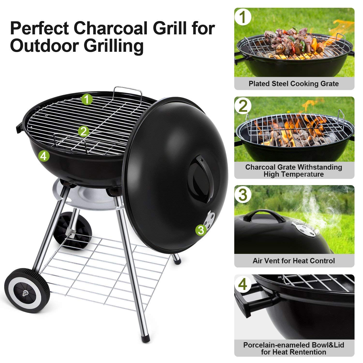 Portable Charcoal Grill for Outdoor Grilling 18inch ...