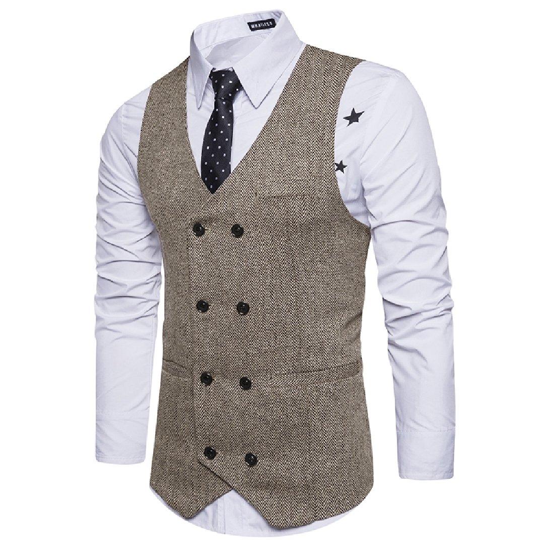 NestYu Men Double Breasted Original Fit Blazer Woolen Jacket Business Vest