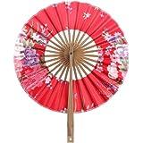 8 Pulgadas Ventilador del Mano Seda de Flor Superficie Abanico Plegable Bambú Monedero Molino de Viento