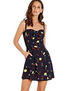 d938ec898dc3 Allegra K Women's Cherry Print Dress Spaghetti Strap Suspender Retro ...