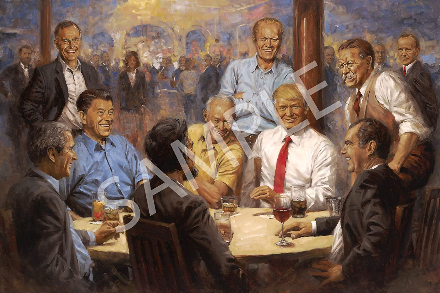 Best Print Store - Republican, The Republican Club Painting, Poster (11x17 inches)