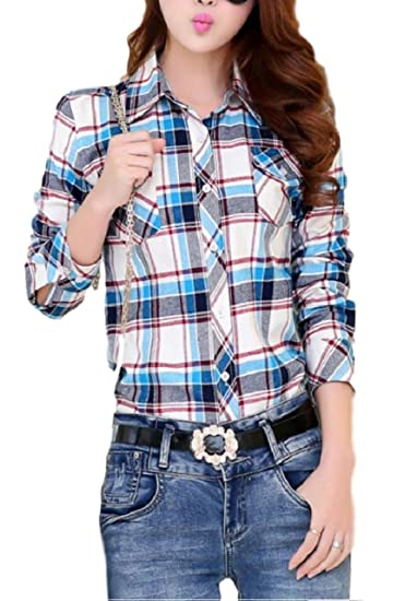 800102c3e ten is heart Check shirts lattice long sleeve western gingham tops nell  ladies (Sax Tartan Check, Large) joy shirt blouse funny blouses cotton  ladies cool ...