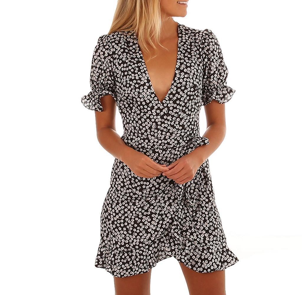 Tomatoa Frauen Kleid Gedruckt Kurzarm V-Ausschnitt Sexy Sommerkleid Strand Rüschenrock Rock Kleid Strandkleid Urlaub Damen