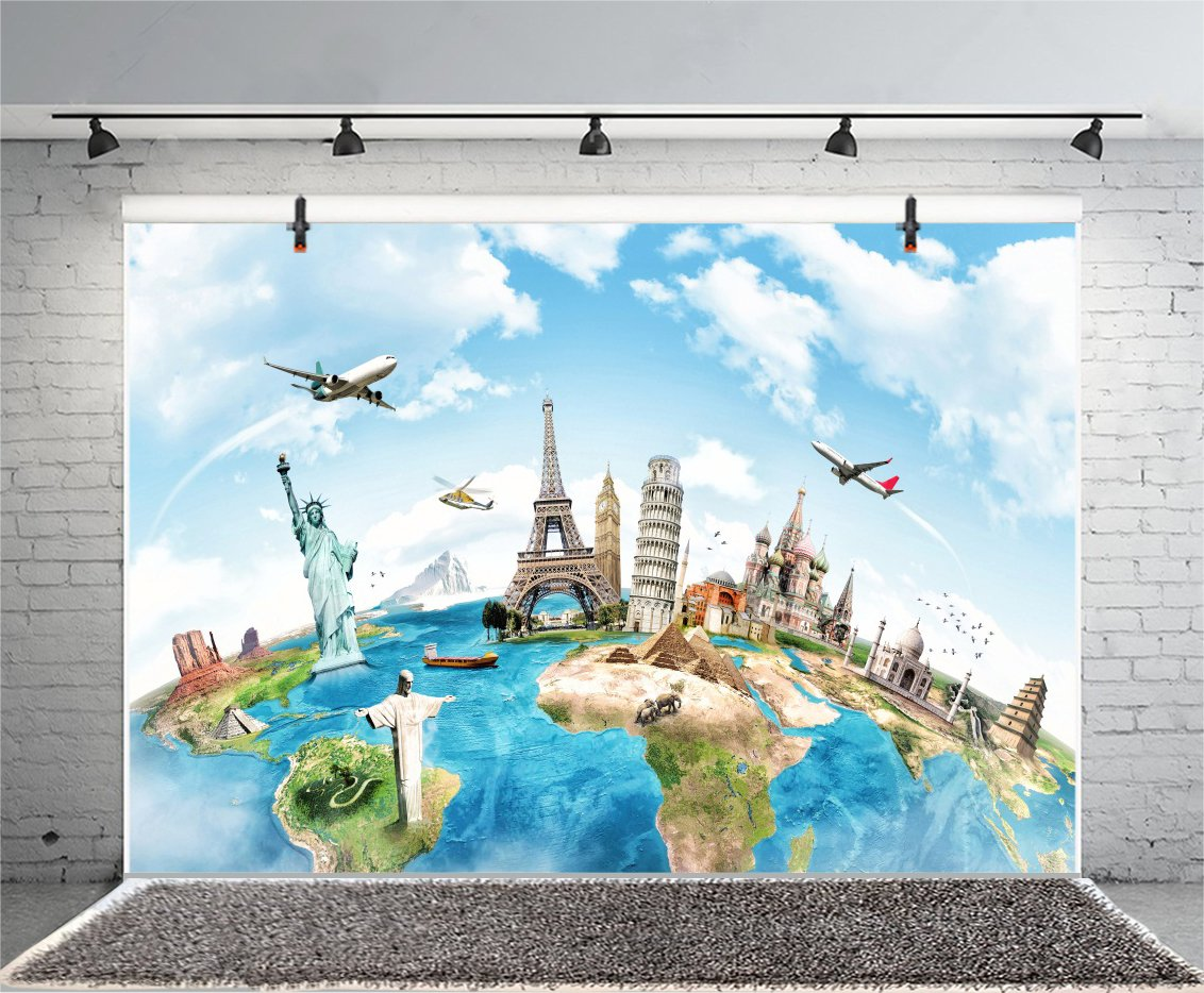 Yeele 7x5ft Globe Travel Backdrop Earth Map Worldwide Continent Famous Landmark Scenery Home Photography Background Infant Baby Adult Portrait Photo Booth Vinyl Wallpaper Photocall Studio Props
