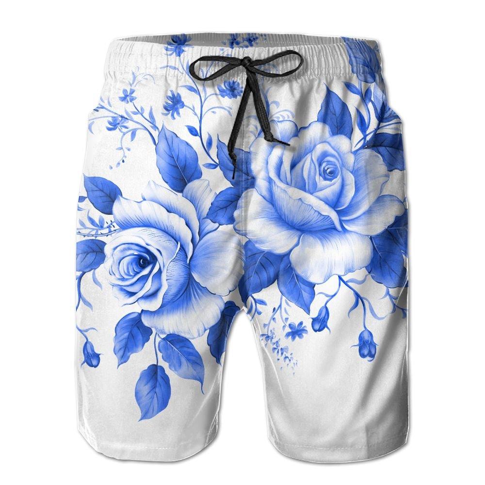 Exotic Chinese Ink Painting Flower Chinese Rose Summer Swimming Trunks Beachwear Shorts