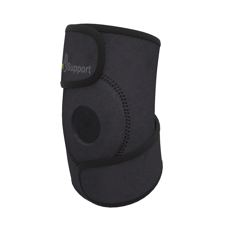 Calibre - Rodillera de compresión de neopreno con diseño abierto para la rótula, para dolores de articulación, problemas en el ligamento cruzado anterior, artritis, rehabilitación y práctica de running. Calibre Products Knee-Support-Open-Patella-C