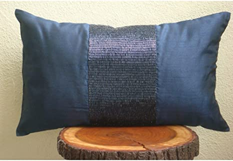 Dark Blue Pillow with Light Blue Ribbon Many Sizes Available Striped Lumbar Navy Blue Velvet Lumbar Pillow Cover