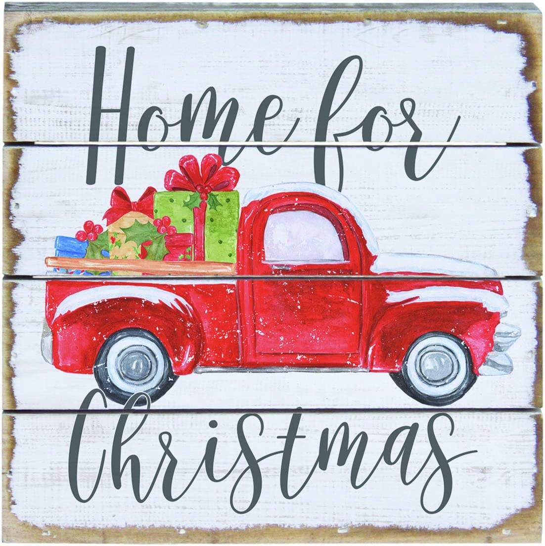 ''Home for Christmas'' Rustic Vintage Red Farm Truck Wood Pallet Sign Shelf Decor or Wall Art 6 x 6 Inches