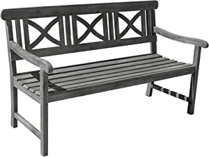 Vifah V1299 Renaissance Outdoor Hand-Scraped Hardwood Bench