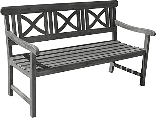 Vifah V1299 Grey-washed 3-Seater Wooden Garden Bench