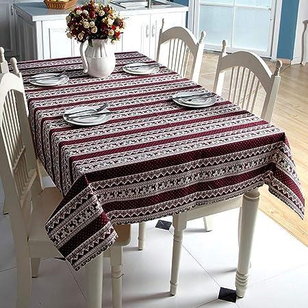 Mantel de Mesa Mantel de Navidad Copos de Nieve Rojos Árbol de Navidad Mantel de Lino Lavable de algodón para Banquete de Boda Estilo D 140cm X 220cm: Amazon.es: Hogar