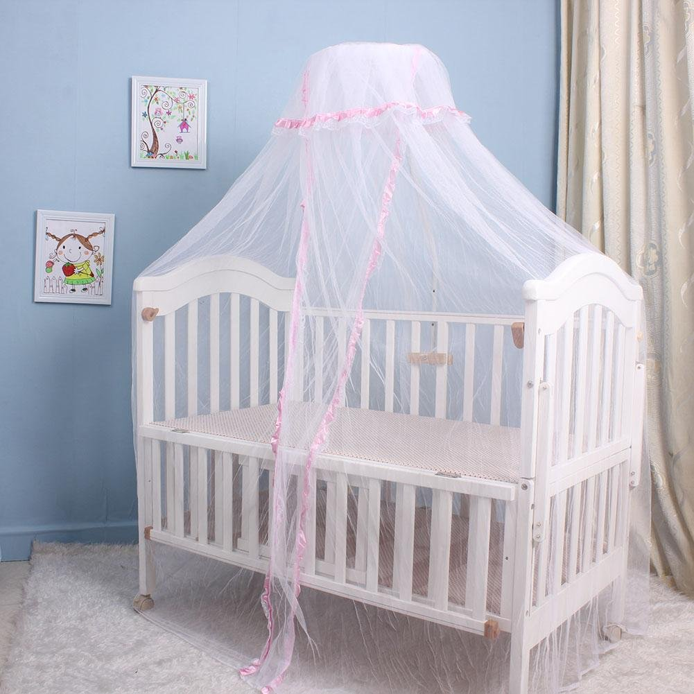 Chaufly Baby Infant Bed Mosquito Netting Round Dome Crib Bed Canopy (Pink)