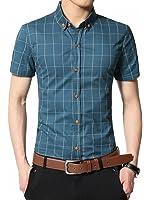 Aiyino Mens 100% Cotton Short Sleeve Shirt-easycare Standard Fit Plaid Prints Shirt
