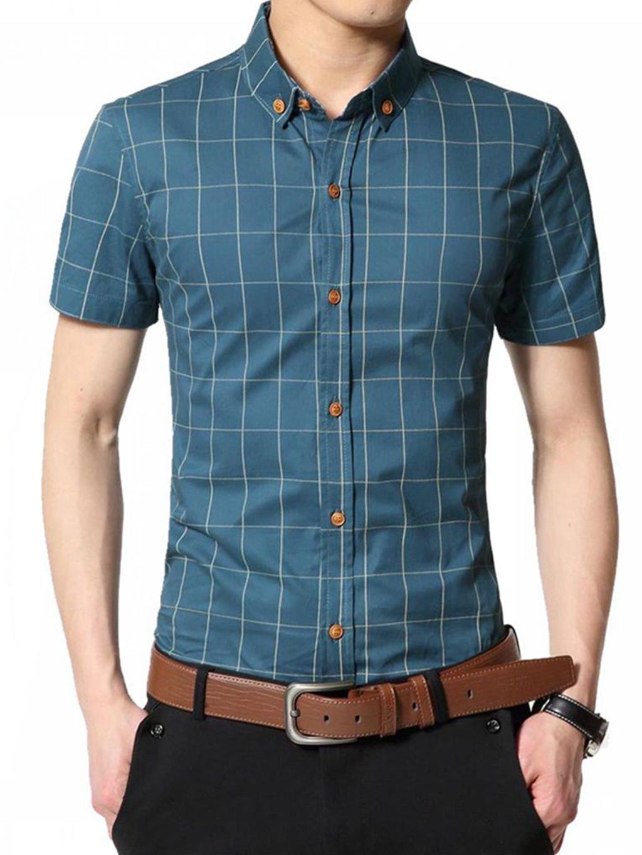 Aiyino Mens Plaid Casual Shirts Short Sleeve Fashion Cotton Shirts M Acid Blue Shirt