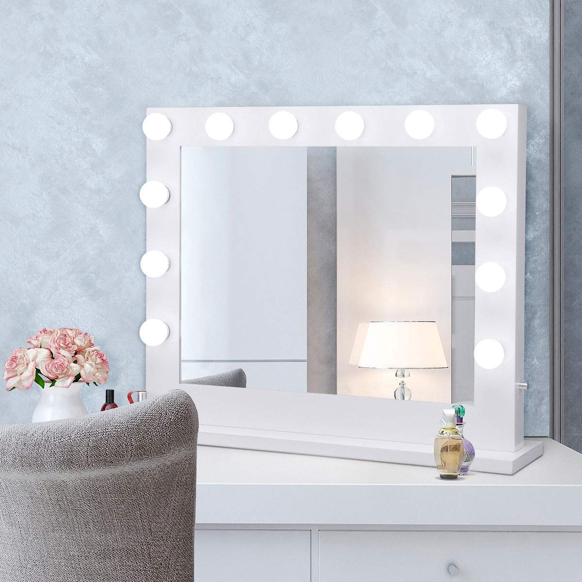 Tangkula Wall Mirror Hollywood Makeup Vanity Mirror W Light Tabletops Lighted Mirror Dimmer LED Illuminated Cosmetic Mirror W LED Dimmable Bulbs White-Rectangle