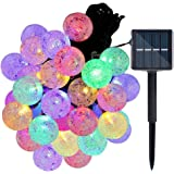 IREGRO 50球 LED 贅沢ストリングライト ソーラーイルミネーションライト 太陽充電 屋外/防水 クリスマスライト ソーラーパネル 飾りライト パーティー/正月飾りデコレーション (カラフル)