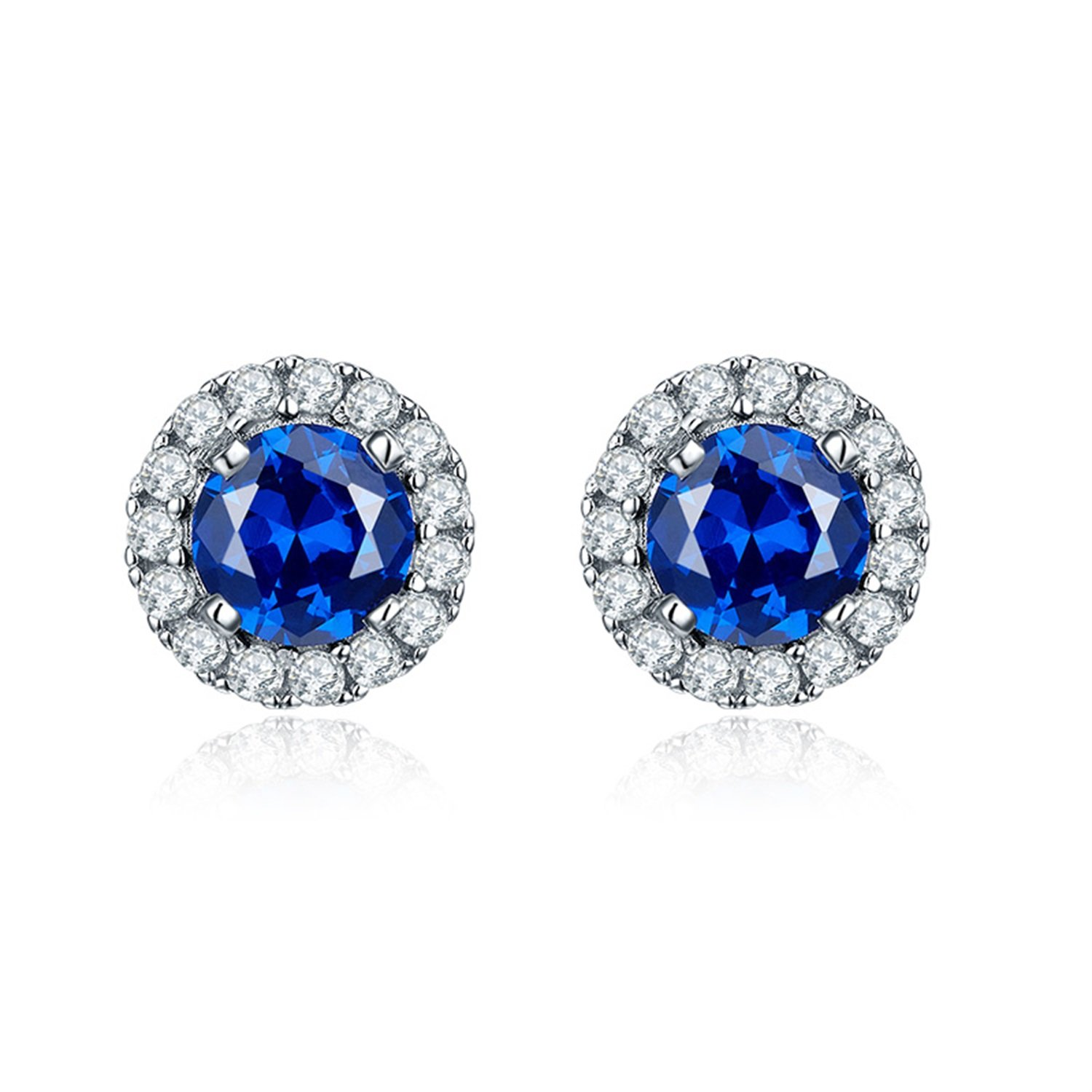 JO WISDOM 925 Sterling Silver Round Gemstone and Blue Created Sapphire Halo Stud Earrings by JO WISDOM (Image #3)