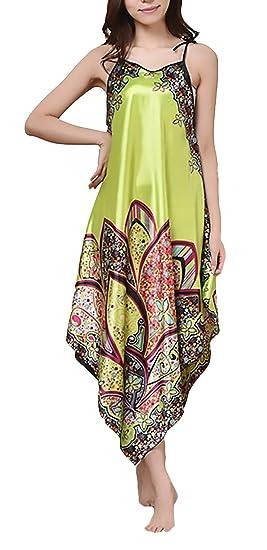 Pijamas Mujer De Verano Sin Mangas Suelto Irregular Dobladillo Clásico Especial Vintage Hippies Etnico Estampadas Camison