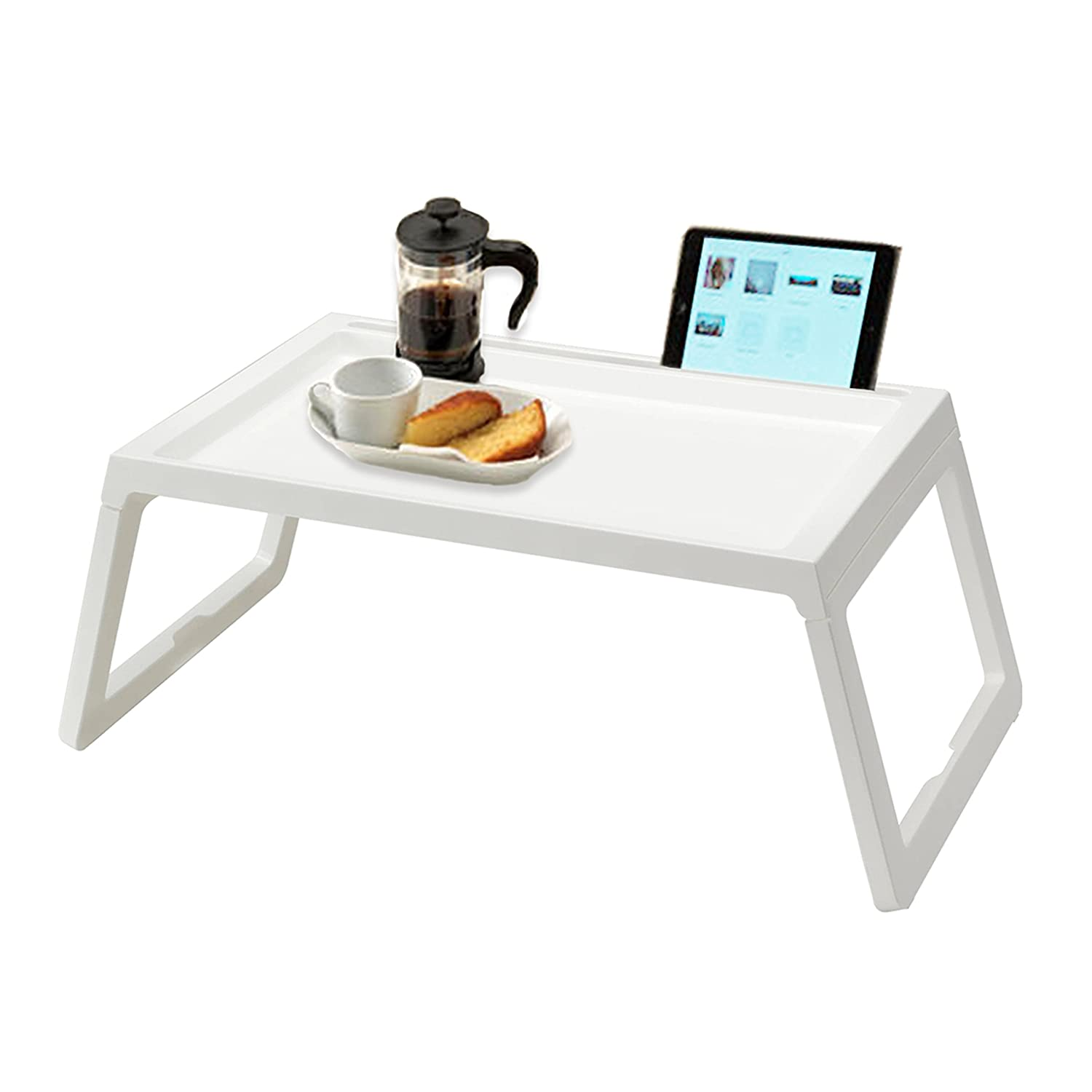 RAINBEAN Bed Table Tray, Foldable Breakfast Serving Tray for Kids Eating, Laptop Computer Desk for Sofa, Portable Outdoor Camping Stand with Floding Legs, Lightweight PP, 22 inch White