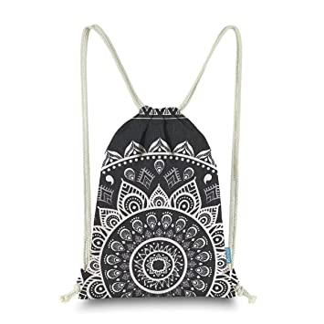 1a93627eae Miomao Drawstring Backpack Gym Sack Pack Mandala Style String Bag With  Pocket Canvas Sinch Sack Sport