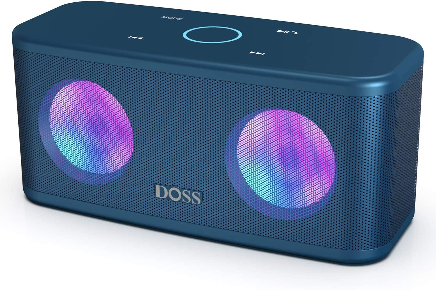DOSS SoundBox Plus Portable Wireless Bluetooth Speaker with HD Sound and Deep Bass, Wireless Stereo Pairing, Built-in Mic, 20H Playtime, Portable Wireless Speaker for Phone, Tablet, TV, and More-Blue